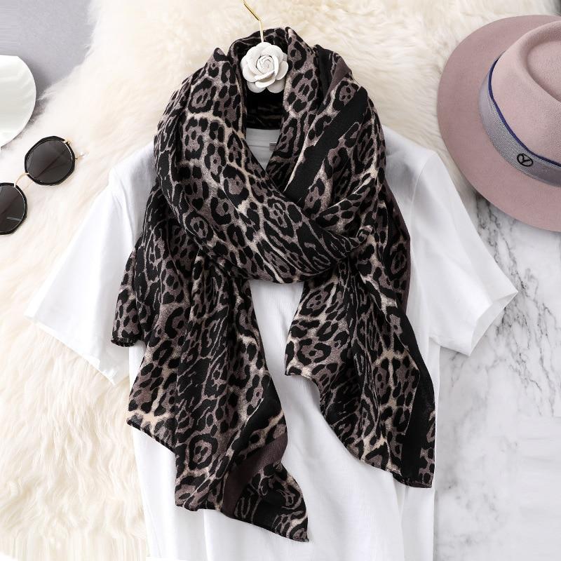 NEW Fashion Luxury Brand Desginer Soft   Scarf   Shawl Leopard Print Silk   Scarves   Beach   Wrap   Pashmina Foulard Lady Bandana