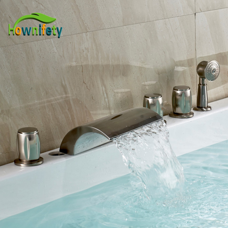Contemporary Brushed Nickel Tub Faucet Three Handles Mixer Tap With Handshower