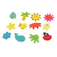 12x Wooden Fridge Magnets Sticker Baby Magnetic Toys Home Art Novelty