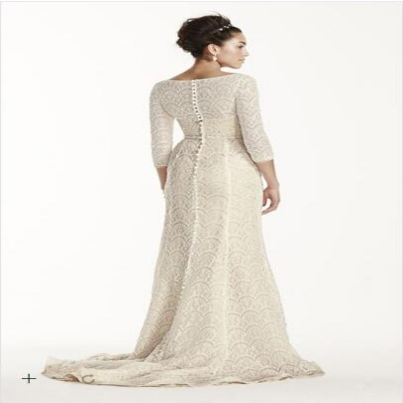 Free Shipping Custom Made 2015 NEW Oleg Cassini Boatneck 3 4 Sleeved  Wedding Dress Style 8CWG711-in Wedding Dresses from Weddings   Events on  Aliexpress.com ... d529c21deaec