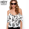 HDY Haoduoyi 2016 Summer Fashion Women Off Shoulder Chiffon T-shirts Ruffles Back Split Spaghetti Strap Single Breasted T-shirt