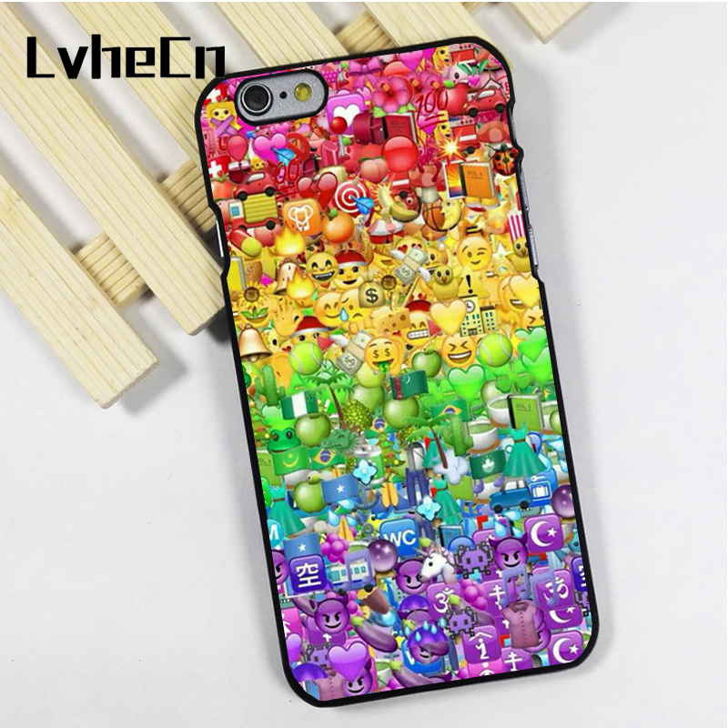 LvheCn phone case cover fit for iPhone 4 4s 5 5s 5c SE 6 6s 7 8 plus X ipod touch 4 5 6 Emoji Emojicon Colourful