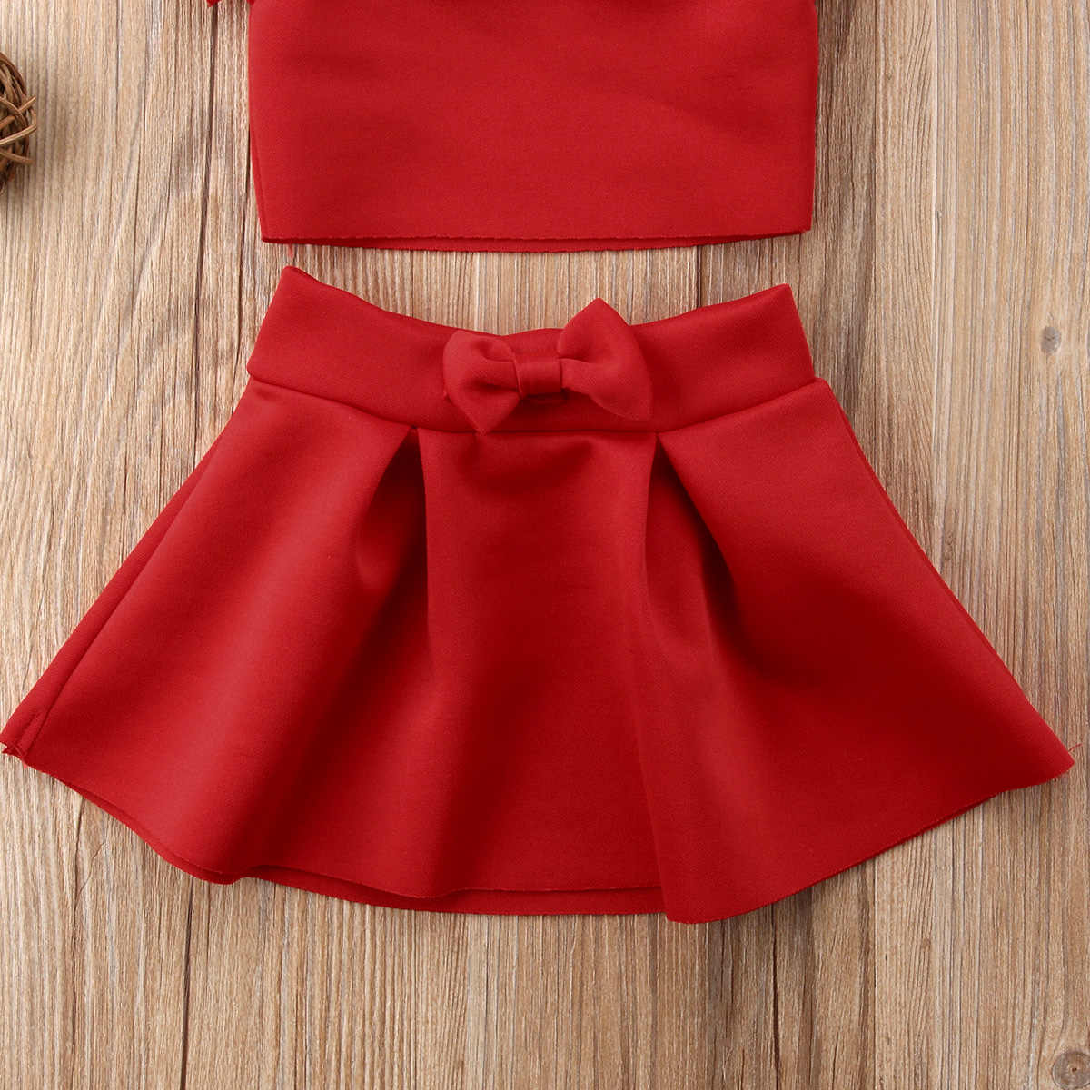 10704856d9 ... Newborn Kids Baby Girl Party Off Shoulder Crop Tops Skirt Outfits  Clothes Summer Cute Princess Solid ...