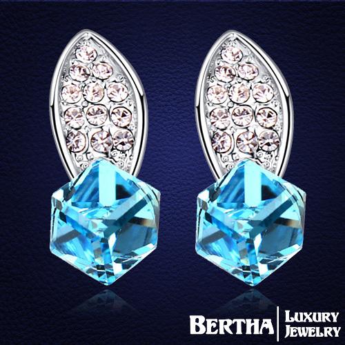 Folhas de luxo praça Brincos Brincos para mulheres com Swarovski Elements cristal austríaco brinco de alta qualidade