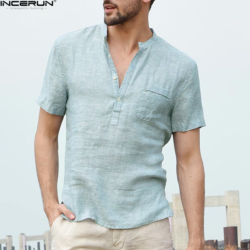 INCERUN 2020 Men's Shirts Stand Collar Short Sleeve Button Casual Tops Male Streetwear Loose Summer Breathable Shirt Chemise