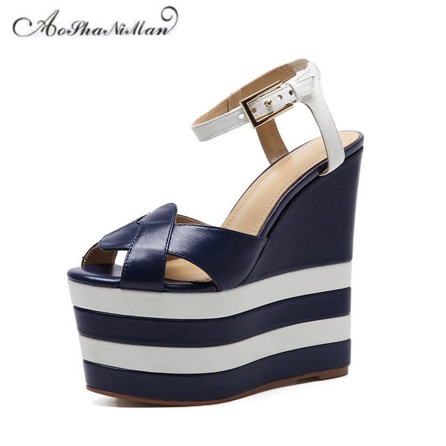 ee875354c71 Newest summer top quality Fashion design women platform sandals 100%  genuine leather thick sole summer shoes 16cm heel 35-40