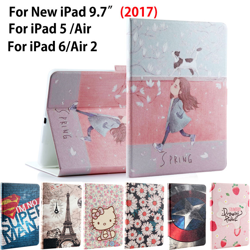 Fashion painted Case Cover For Apple New iPad 9.7 2017 A1822 A1823 Funda cases For iPad Air 1 2 iPad 5 6 PU Leather Stand Shell выключатель legrand quteo 2 клавишный серый 782332