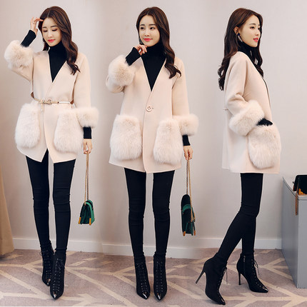 Beige Section Femmes D'hiver Jq194 Type De face Et Nouveau Cachemire Laine Double Longue Manteau Modèles Automne Awn8SZ