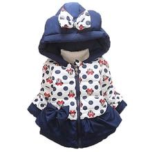 Куртки для маленьких девочек и мальчиков, одежда для малышей, детские пальто с капюшоном, зимняя теплая куртка с рисунком Минни и Микки, верхняя одежда для малышей
