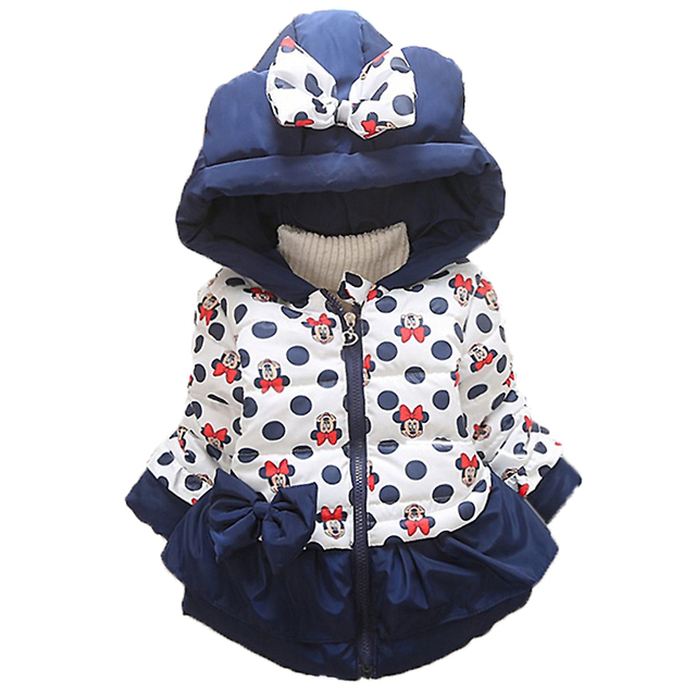 Baby Girls Boys Jackets Baby Clothing Kids Hooded Coats 2018 Winter Toddler Warm Cartoon Minnie Mickey Jacket Baby Outerwear