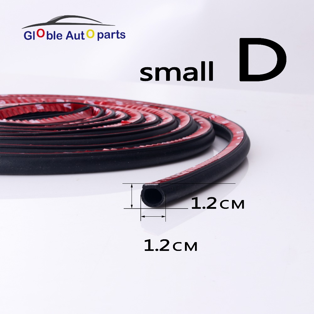 6 Meter/pcs Small D 9*10MM Car Sound Insulation Sealing Rubber Strip Anti Noise Rubber Waterproof 3m Sticky Tape Car Door Seal цена