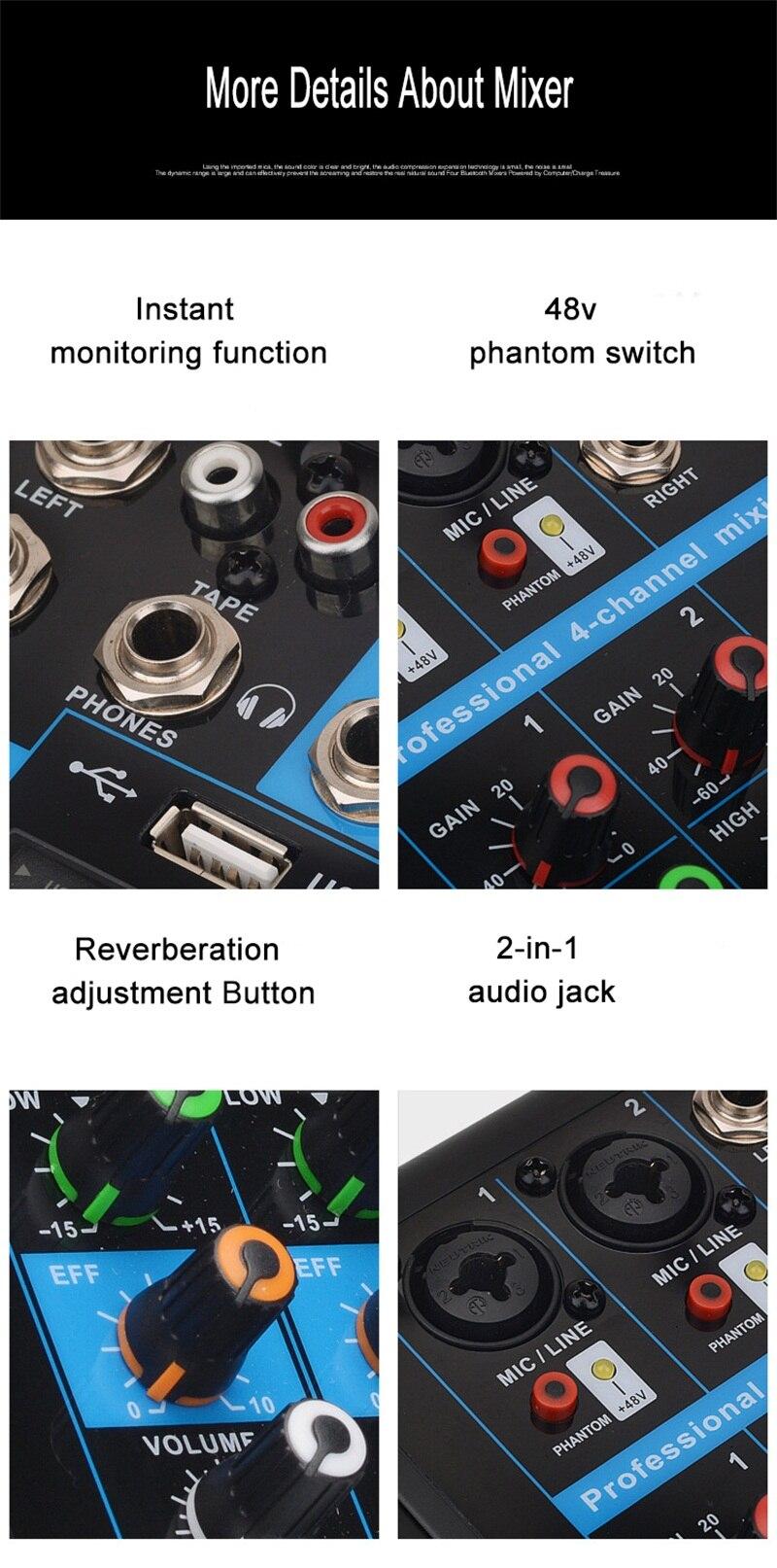 multifunction 4 canal 48 v amplificador com
