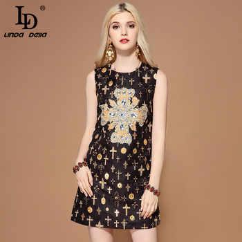 LD LINDA DELLA Fashion Runway Summer Dress Women\'s Sleeveless Tank Luxury Crystal Diamonds Jacquard Vintage Black Short Dress - SALE ITEM - Category 🛒 Women\'s Clothing
