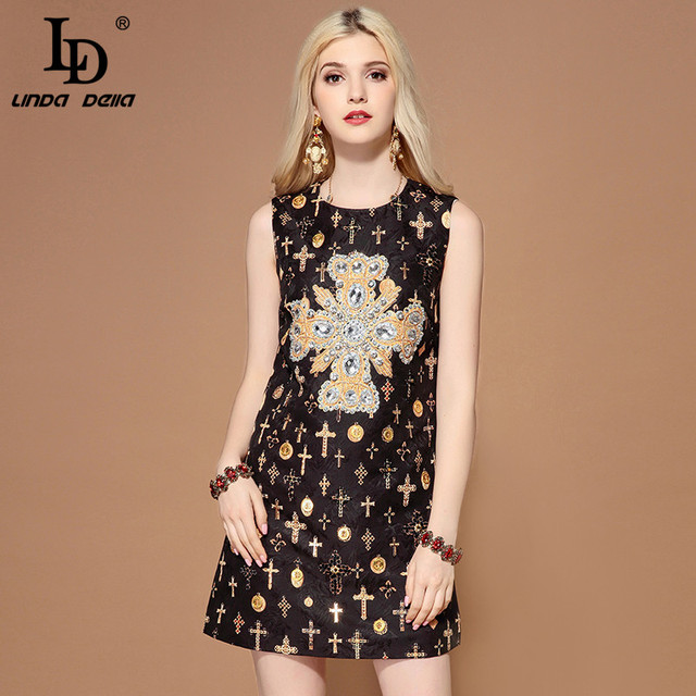 LD LINDA DELLA Fashion Runway Summer Dress Women's Sleeveless Tank Luxury Crystal Diamonds Jacquard Vintage Black Short Dress