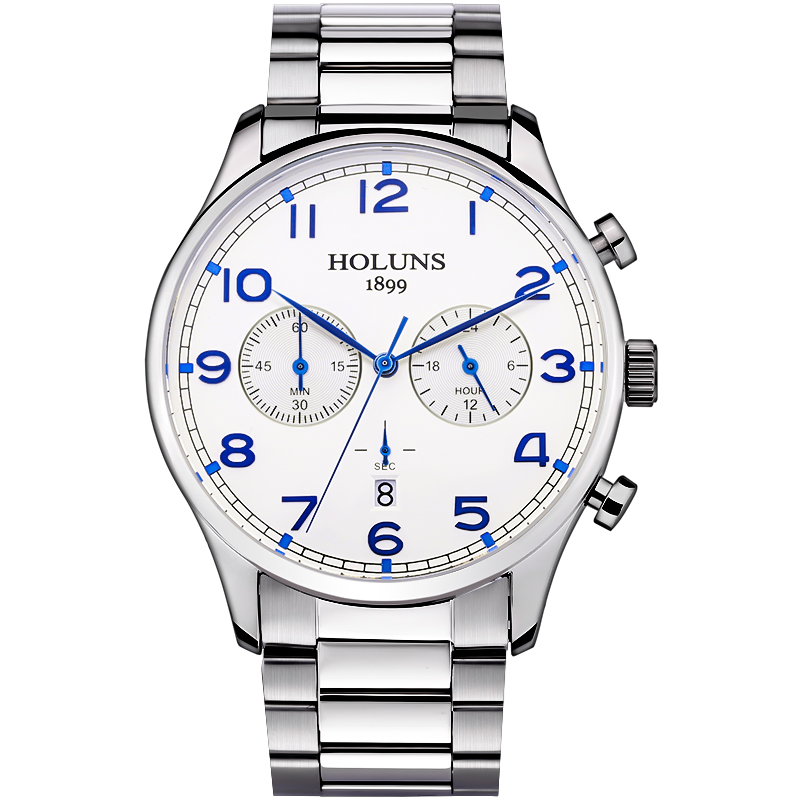 Luxury Holuns watch men Sapphire glass 3 small dials date stainless steel  men business waterproof quartz watch