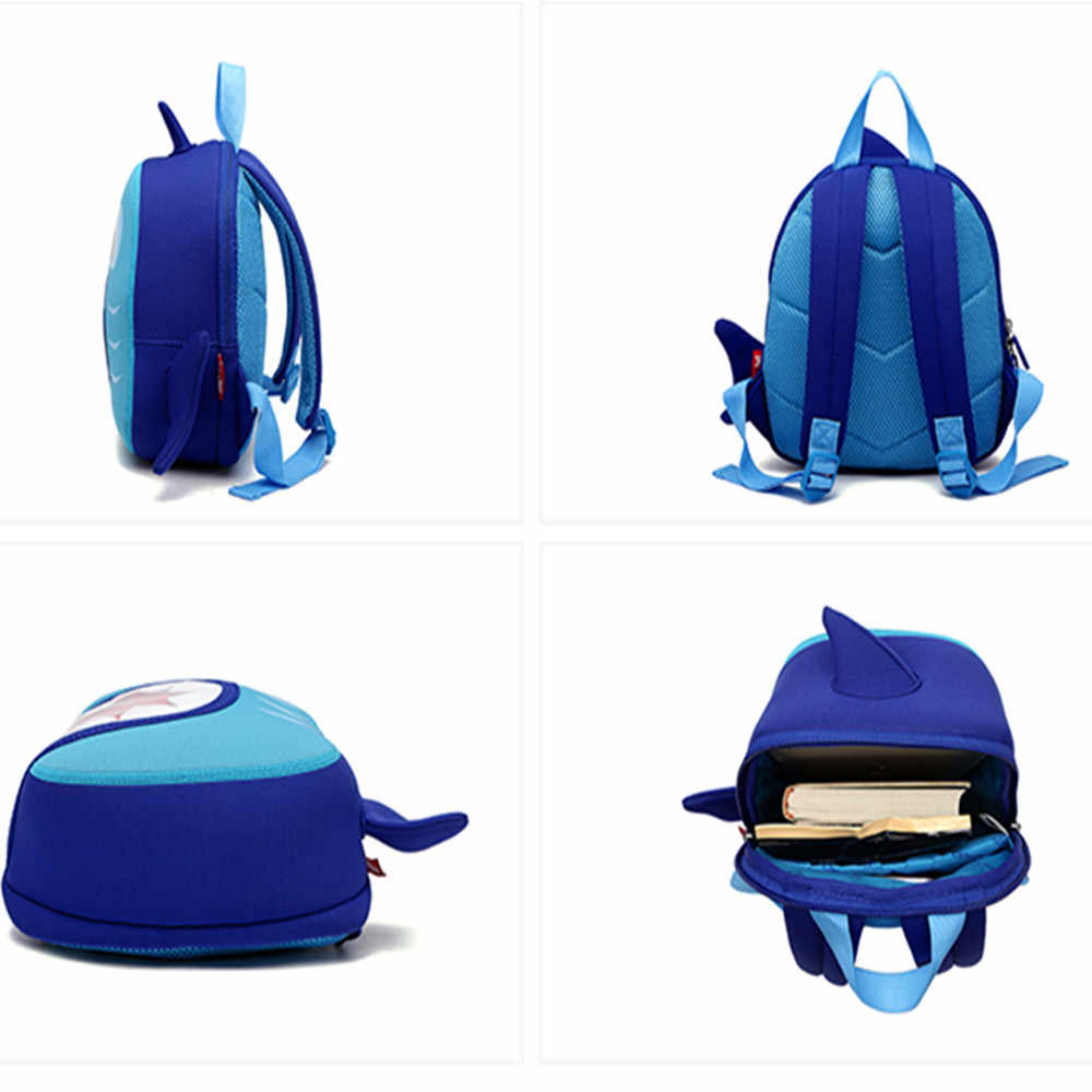 ... 3-8 Yrs Children Backpack Bags Blue 3D Shark Kids Cartoon Animal School  Waterproof Children ...