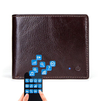 Large Capacity Brown Leather Card Holder Solid Small Short Men Wallet Anti Lost Purse Multifunction Fashion Bluetooth