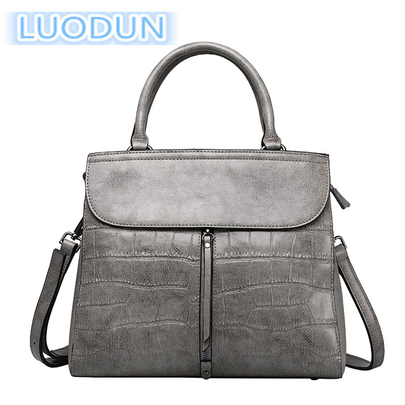 LUODUN 2018 new cowhide handbag spring and summer Europe and the United States fashion stone pattern shoulder bag Messenger bag aetoo leather new handbags europe and the united states fashion simple handbag head layer of cowhide diagonal shoulder bag handb