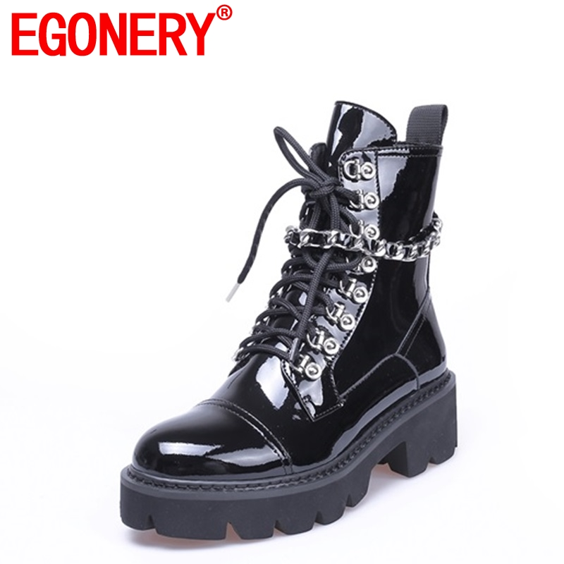 EGONERY Rock punk women shoes round toe zipper patent leather med 5cm heel platform cross tied