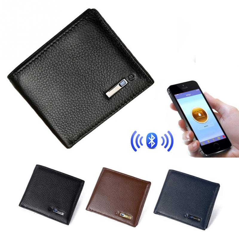 Men Smart Wallet Genuine Leather Anti-theft GPS Locator Wallet Anti Lost Intelligent Bluetooth Purse Male Card Holders Tracker
