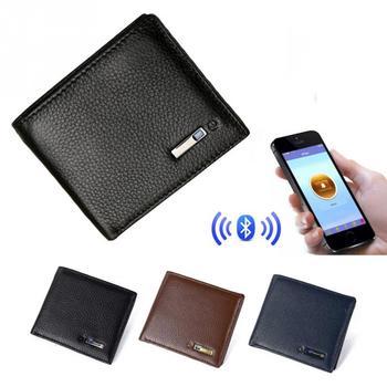 Men Smart Wallet Genuine Leather Anti-theft GPS Locator Wallet Anti Lost Intelligent Bluetooth Purse Male Card Holders Tracker
