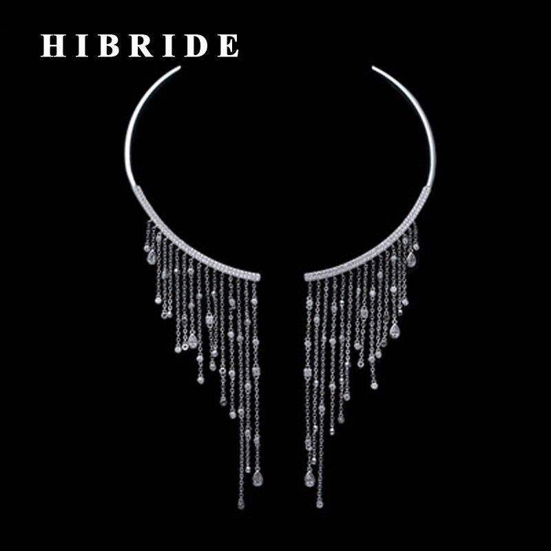 HIBRIDE Style européen de luxe femmes collier pendentif AAA cubique Zircon blanc or couleur colliers femme bijoux N-176