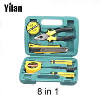 2016 New Home Tools 8 PCS/ SET Combination Tool Boxes Hammer Pliers Screwdriver Wrenches Knife Hand Work Household Tool Set