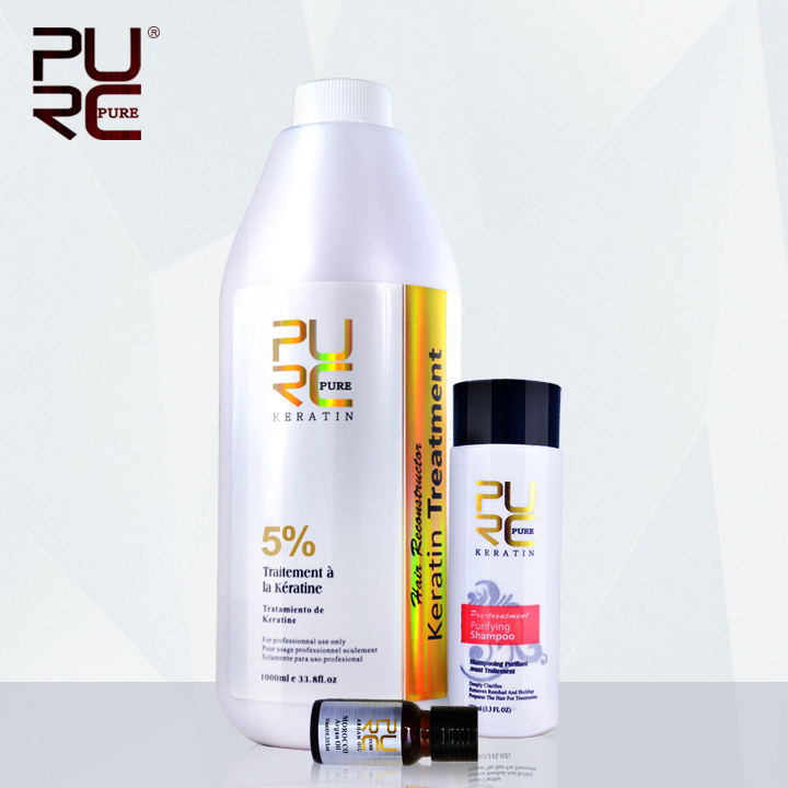 PURC 5% formaldehyde keratin hair treatment and purifying shampoo get one piece gift argan oil 2015 hot sale hair care products