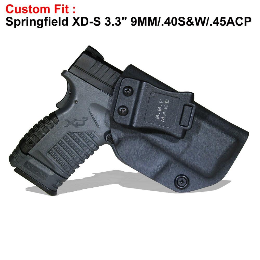 B.B.F hacer PDI KYDEX Holster se adapta a: SpringField XD-S 3,3 9mm/. 40 s & W/. 45ACP pistolas interior oculto llevar caso bolsas de pistola