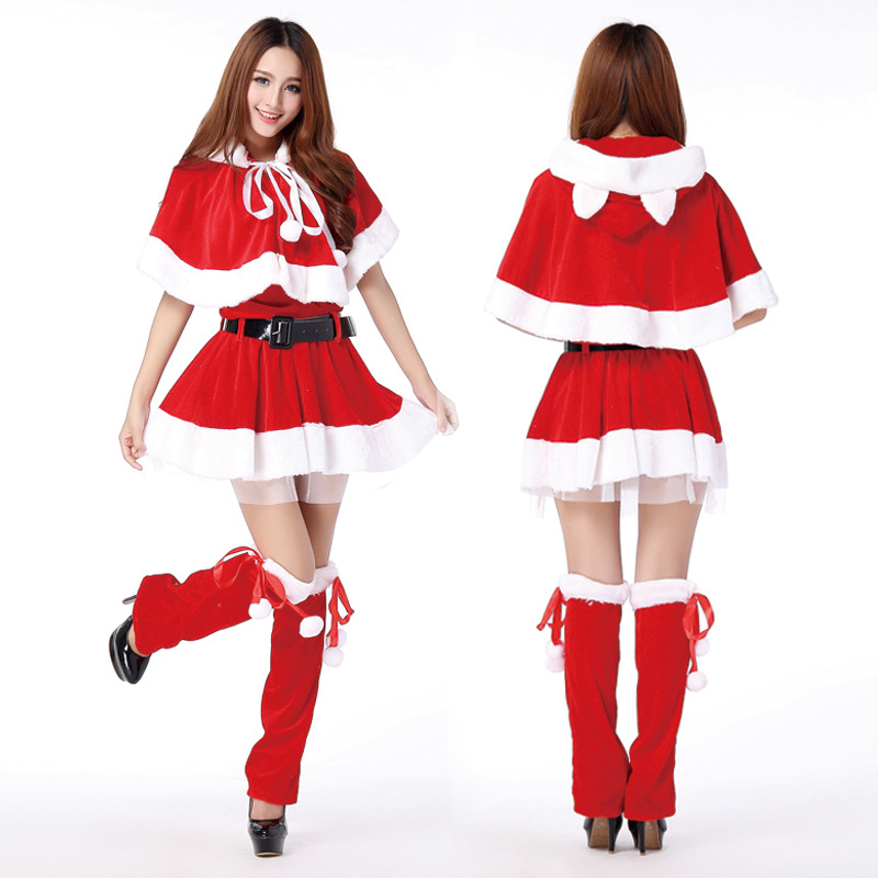 Adult  Santa Miss Dress Contain Leg Sets Hat Shawl Belt 5 Piece Set Nifty Cute Cat Women Rabbit Girl Halloween Cosplay Costume