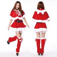 Volwassen Santa Miss Jurk Bevatten Been Sets Hoed Shawl Riem 5 stuk Set Nifty Leuke Kat Vrouwen Konijn Meisje Halloween Cosplay Kostuum