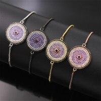 NJ 100 Genuine Spot Wholesale Fashion Round White Black Purple Crystal Expandable Bracelet Turkish Decorations 4