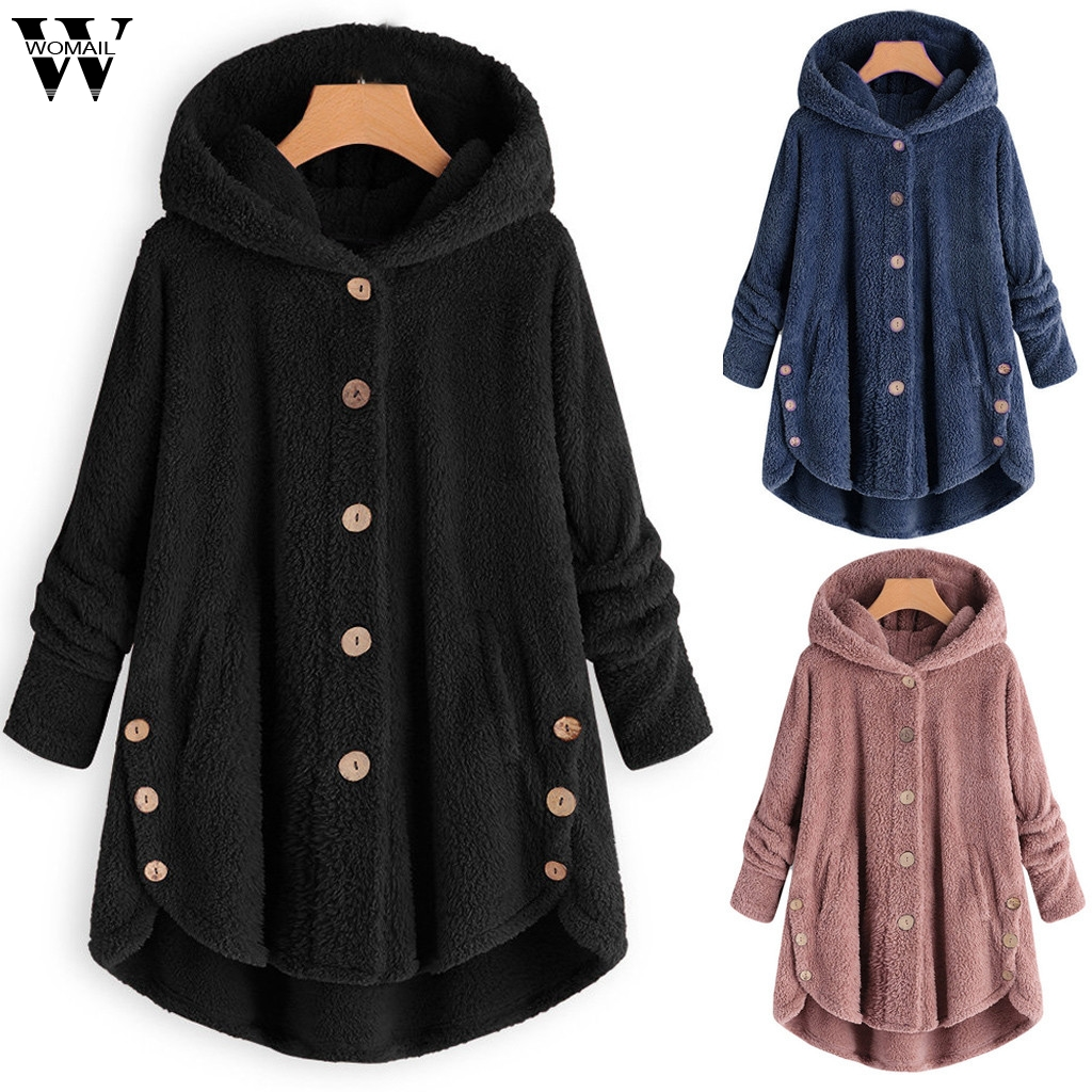 Womail Thin Wool Blend Women Button Coat Fluffy Turn-down Collar Outwear Hooded