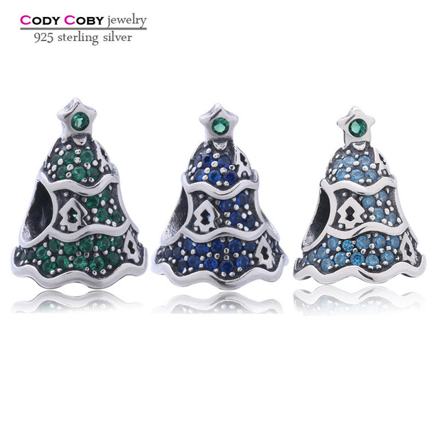 Fit DIY Bracelet Sterling Silver 925 Original Christmas Tree Charm Pave Sky  Blue Green Beads For 35905c11f3ee