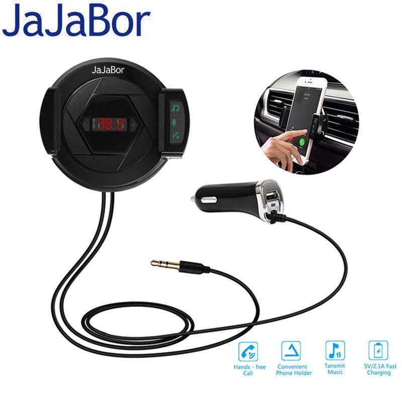 Jajabor автомобильный комплект <font><b>AUX</b></font> <font><b>Bluetooth</b></font> Hands-Free вызова аудио музыки MP3-плеер fm-передатчик <font><b>USB</b></font> 5 В 2.1A Зарядное устройство с aire Vent клип