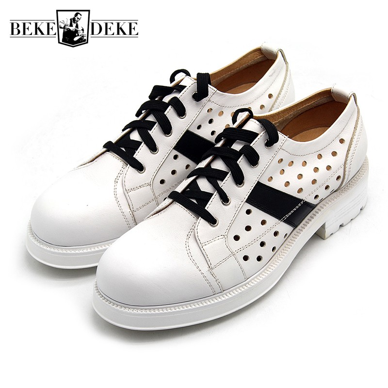 High Street Men Breathable Hollow Out Casual Shoes Lace Up Med Heels Top Brand Nature Leather Shoes For Teenager Thick Platform