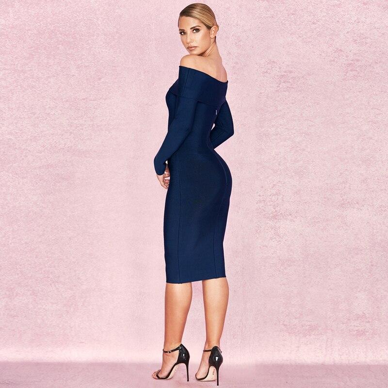 Off Épaule Cou Robe Longues Femmes 2018 De Soirée Célébrité Slash Élégant Manches À Bandage Nouveau Mode Robes 1Swzxx