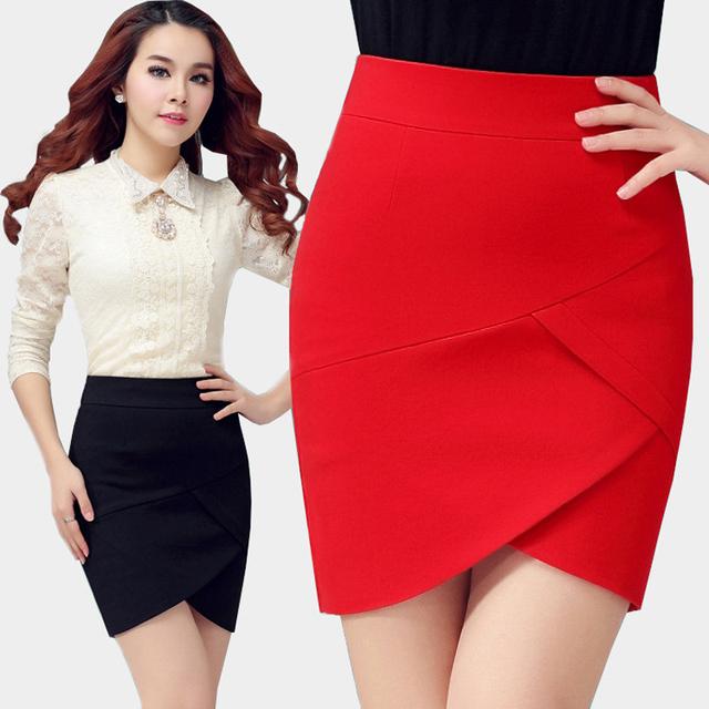 Lápiz mini falda de cintura alta falda de las mujeres negro rojo blanco sexy short tight moda ocasional encima de la rodilla