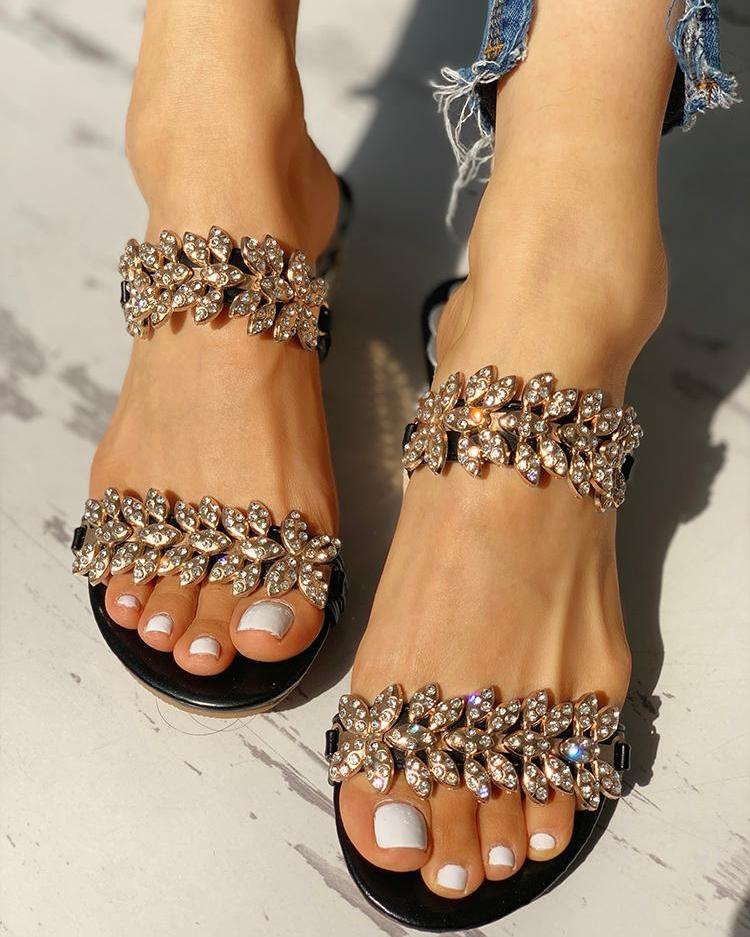 Fashion New Arrival Black/Silver/Gold color Flower Slippers Summer Rhinestone Petal Sandals For Women