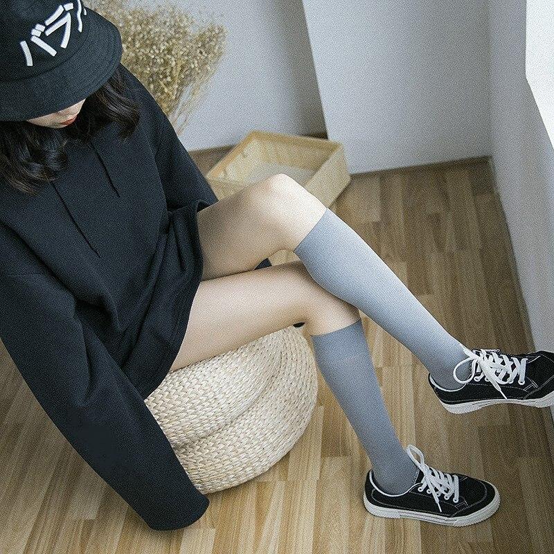 Jeseca 1Pair Women Stockings High Quality Girls Lower Knee Socks Winter Warmer Japanese Kawaii School Students Black Long Sock
