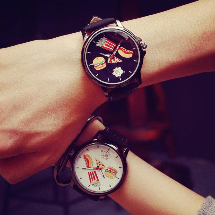 2pcs/Set New Fashion Casual Mens Womens Watch Food Cartoon Unisex Couple Watches Sport Leather Quartz Lovers Wristwatch Relogio