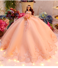 Wedding Dress for Doll Princess Evening Party Clothes Wears Long Outfit Set with Veil gift