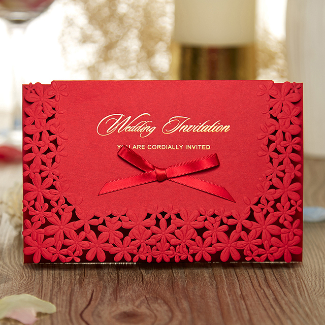 Red Horizontal Laser Cut Wedding Invitation With Hollow Customized Elegant Cards Party