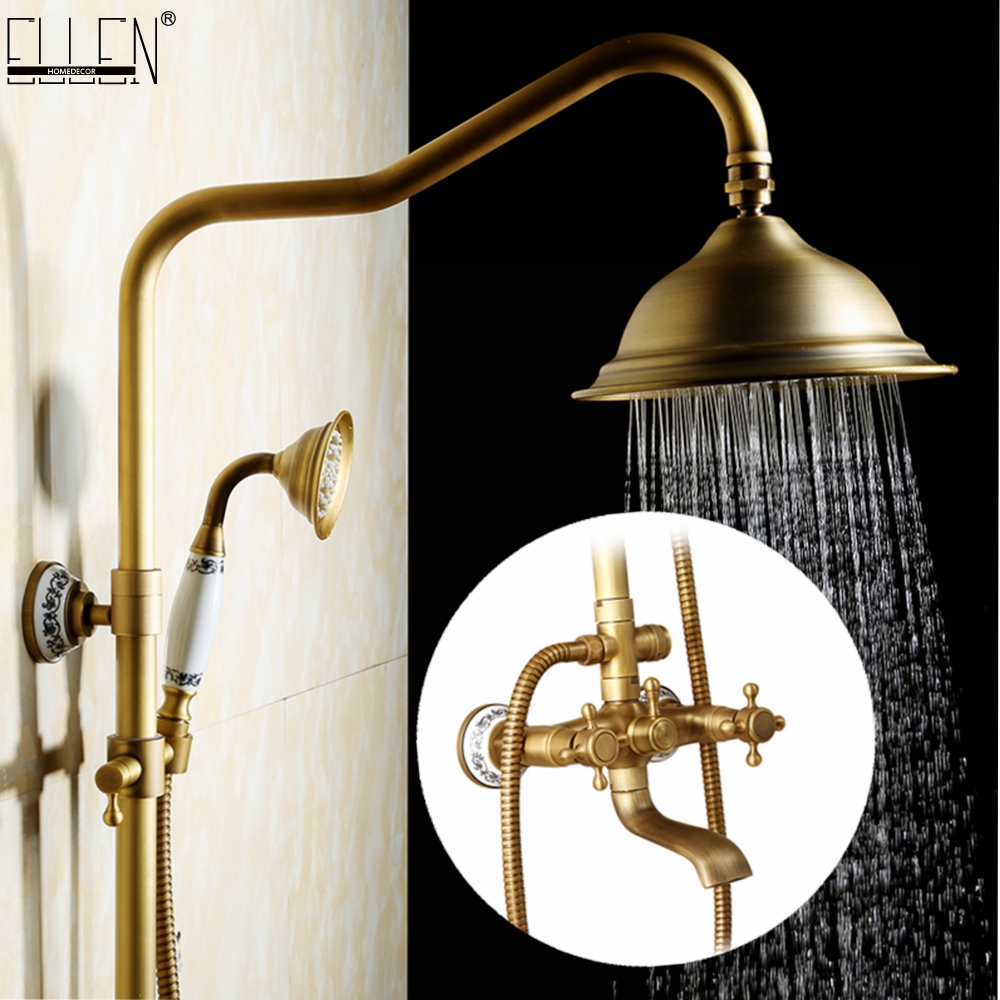 Antique Rain Shower Faucets Set with Hand Brass Wall Mounted Shower Mixer for Bathroom Bath Luxury