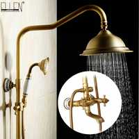 Antique Rain Shower Faucets Set with Hand Brass Wall Mounted Shower Mixer for Bathroom Bath Luxury Rainfall Shower Set EL4006T