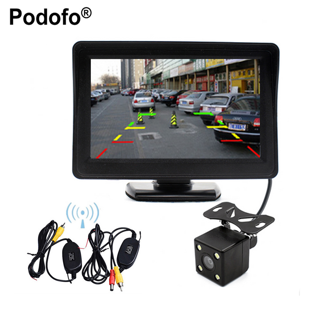 Podofo Wireless Auto Rearview Parking Assist 4.3 Color LCD TFT Rear View Monitor + Night Vision Rearview Backup Camera For Car