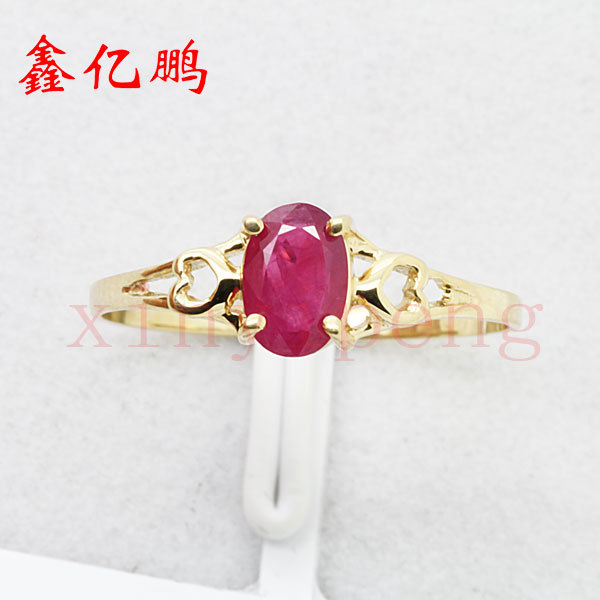 Women 18 k gold inlaid natural ruby ring Fashion luxury 4x6mm 1