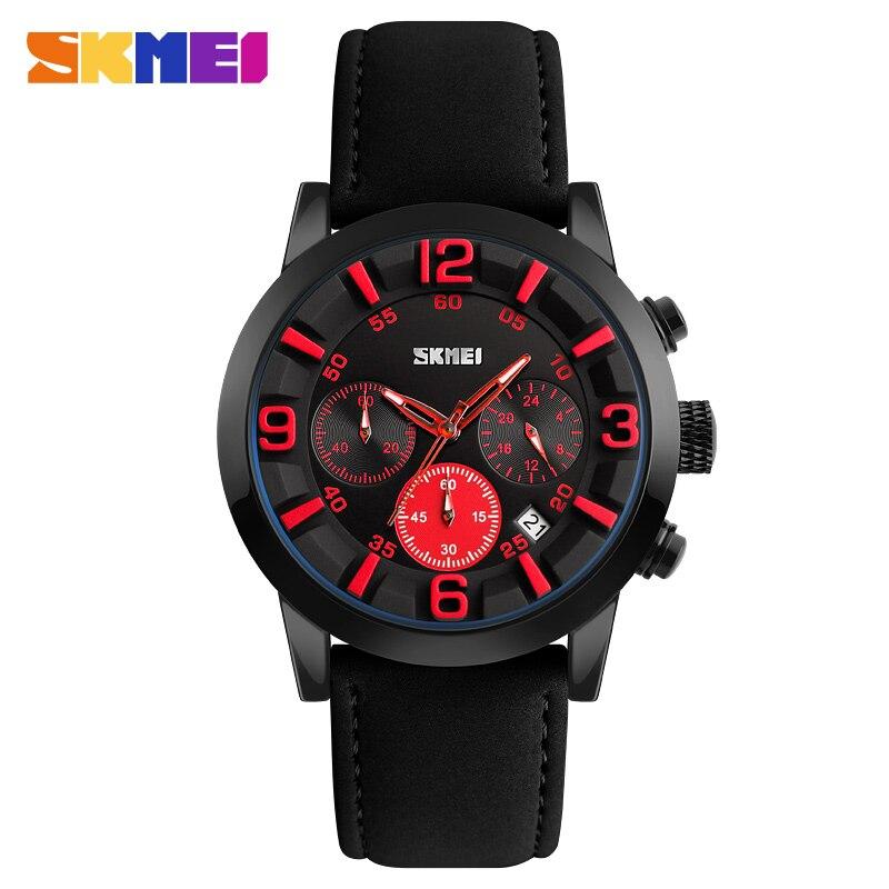 SKMEI Top Luxury Brand Watch Men Stopwatch Sports Watches Leather Calendar Waterproof Quartz Wristwatches Relogio Masculino