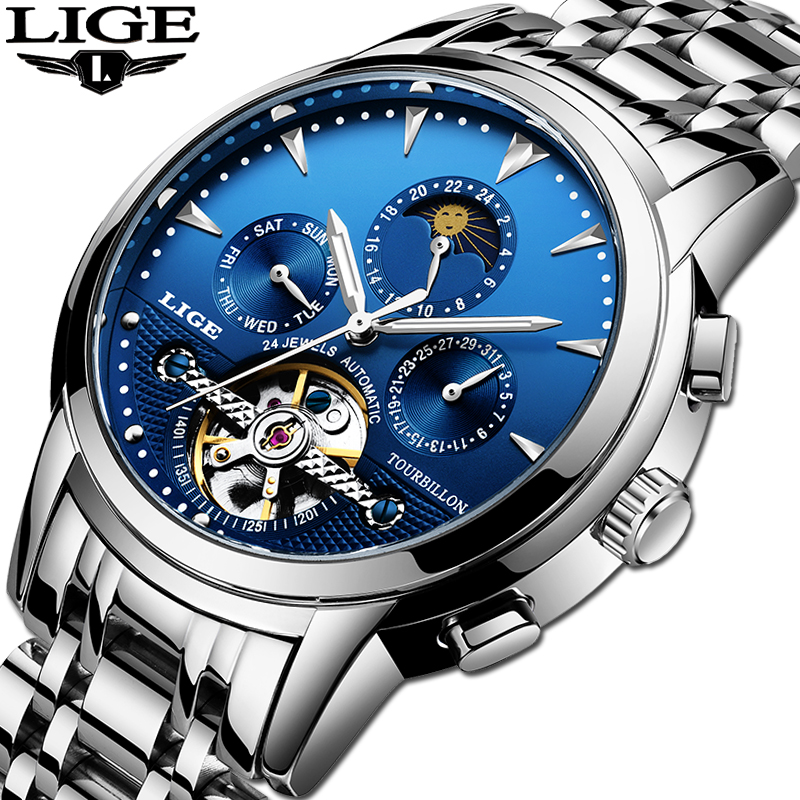 Relogio Masculino LIGE Men Watch Top Brand Luxury Automatic Mechanical Watch Men Full Steel Business Waterproof Sport WatchesRelogio Masculino LIGE Men Watch Top Brand Luxury Automatic Mechanical Watch Men Full Steel Business Waterproof Sport Watches