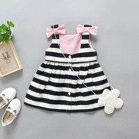 1 5T New Summer Style Girls Lovely Dress Black White Stripe Halter Dress Cotton Mini Dresses